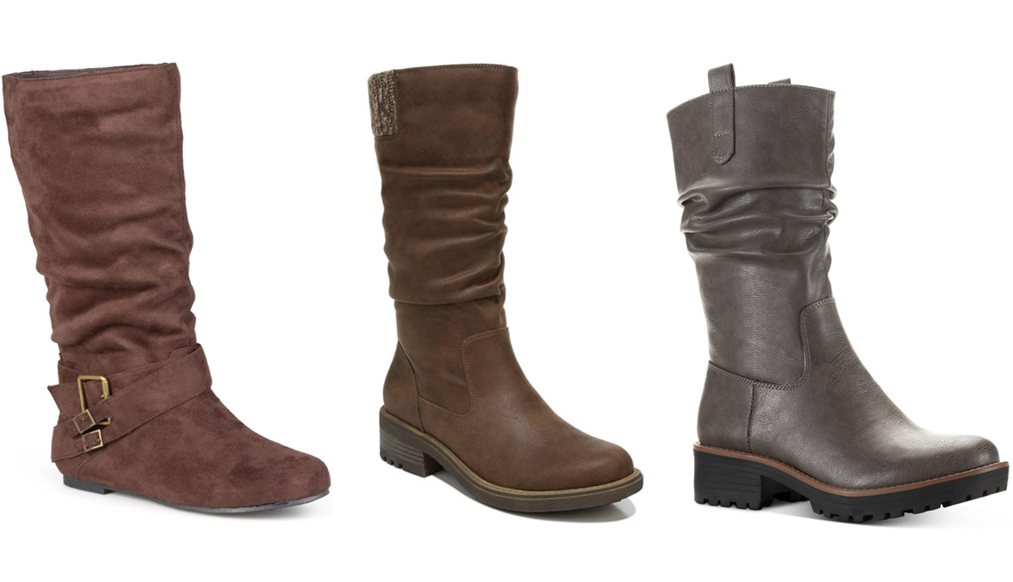 item 5 of Gallery image - Journee Collection Shelley Women's Mid-Calf Boots in Brown; LifeStride Kaden Women's Slouch Boots in Brown; Sun + Stone Nelliee Lug Sole Slouch Boots in Grey