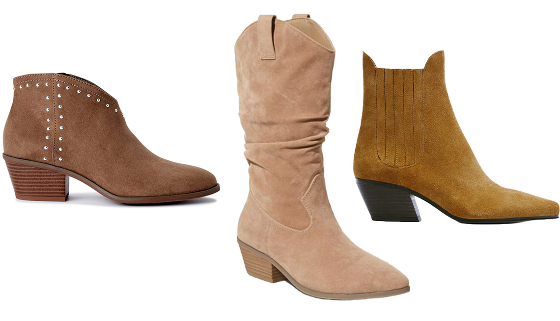 item 8 of Gallery image - Scoop Women's Studded Faux Suede Booties With Stacked Heel in Tan; Universal Thread Adaline Western Boots in Taupe; Zara Cowboy Split Leather Ankle Boots in Brown