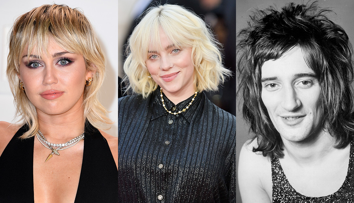 item 10 of Gallery image - Side by side images of Miley Cyrus, Billie Eilish and Rod Stewart