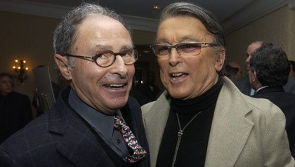 Peter Bart (l) and Robert Evans at Hotel Bel Air in Los Angeles, California, United States.