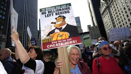 Occupy Wall Street protests in Manhattan against the cities wealthiest millionaires.