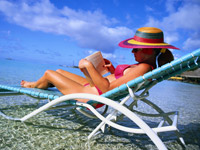 Woman in Sun Chair at the Beach