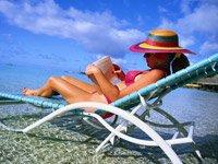 Woman in Sun Chair at the Beach
