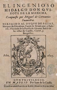 Primera página del libro Don Quijote de la Mancha obra de Miguel de Cervantes Saavedra
