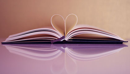 Book with pages that make a heart shape, books on care giving