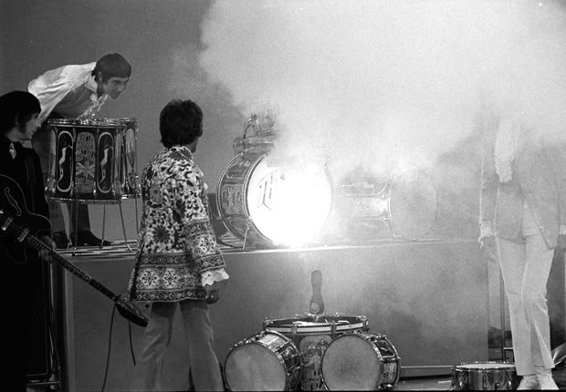 Smoke spreads from drummer Keith Moon's kit following British rock group The Who's performance on 'The Smothers Brothers Comedy Hour - Pete Townshend Retrospective