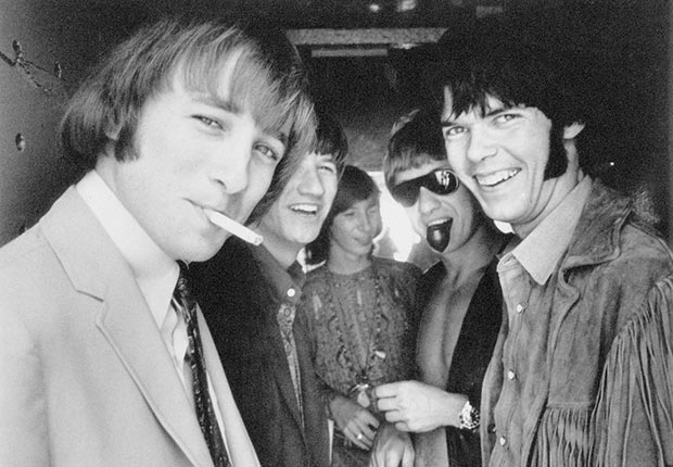 Rock band Buffalo Springfield in Malibu in June 1966. Left to right, Stephen Stills, Richie Furay, Bruce Palmer, Dewey Martin, Neil Young