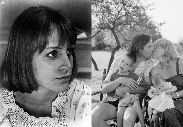 An image of Carrie Snodgress in the 1970's and and image of Neil Young with his wife Pegi, their children Ben and Amber at Willie Nelson's Pedernales Ranch in Spicewood, Texas in June 1984