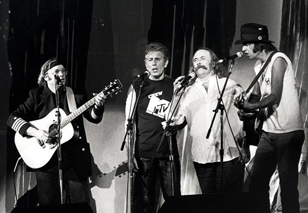 Stephen Stills, Graham Nash, David Crosby and Neil Young at the Live Aid Concert on July 13, 1985