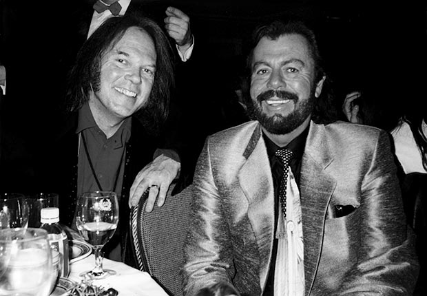 Neil Young and David Briggs on the night Young was inducted into the Rock and Roll Hall of Fame in New York in 1995
