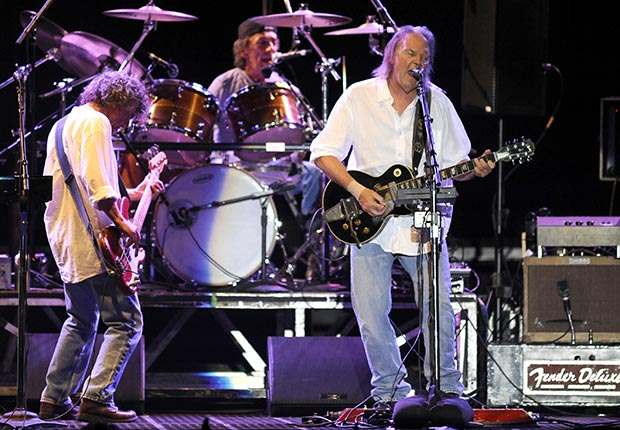 Neil Young and Crazy Horse perform in support of the bands' Americana release at the Lake Tahoe Outdoor Arena at Harveys on August 9, 2012 in Stateline, Nevada