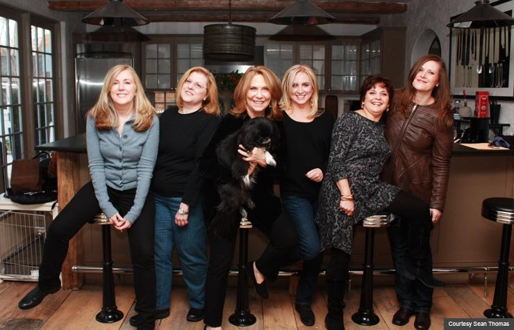Author Becky Aikman with members of Saturday Night Widows club