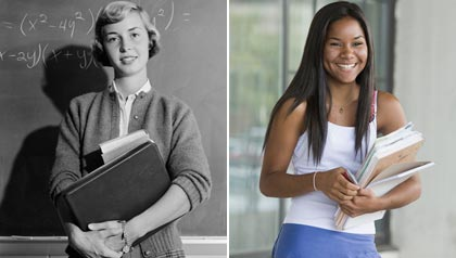 A high school girl from the past and the present holding books. (Hunstock, Inc./ClassicStock/Alamy)