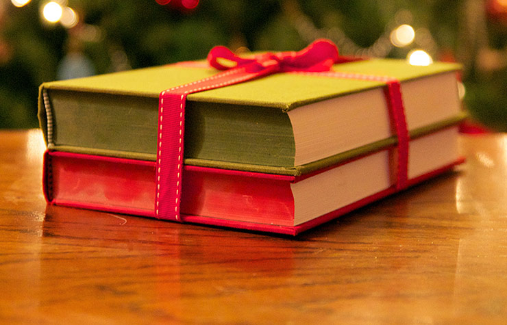Books wrapped with ribbon. Best holiday book gifts.