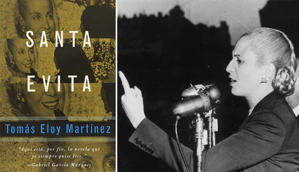 Portada del libro Santa Evita de Tomás Eloy Martínez - Heroínas de la literatura. Foto de Eva Perón
