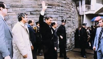 1981, USA, WASHINGTON, RONALD REAGAN AFTER HIS ATTEMPT