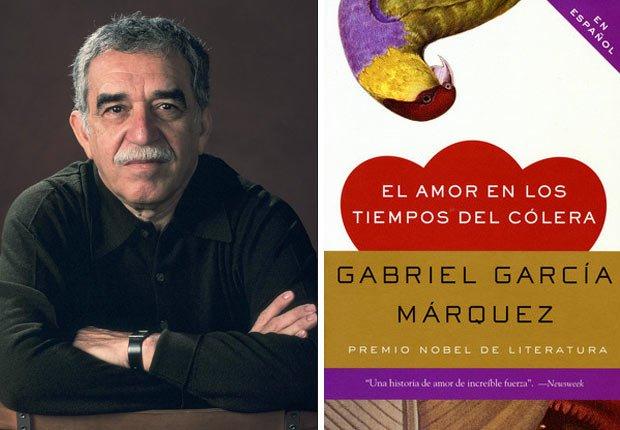 Retrato de Gabriel García Márquez, portada de El amor en los tiempos de cólera