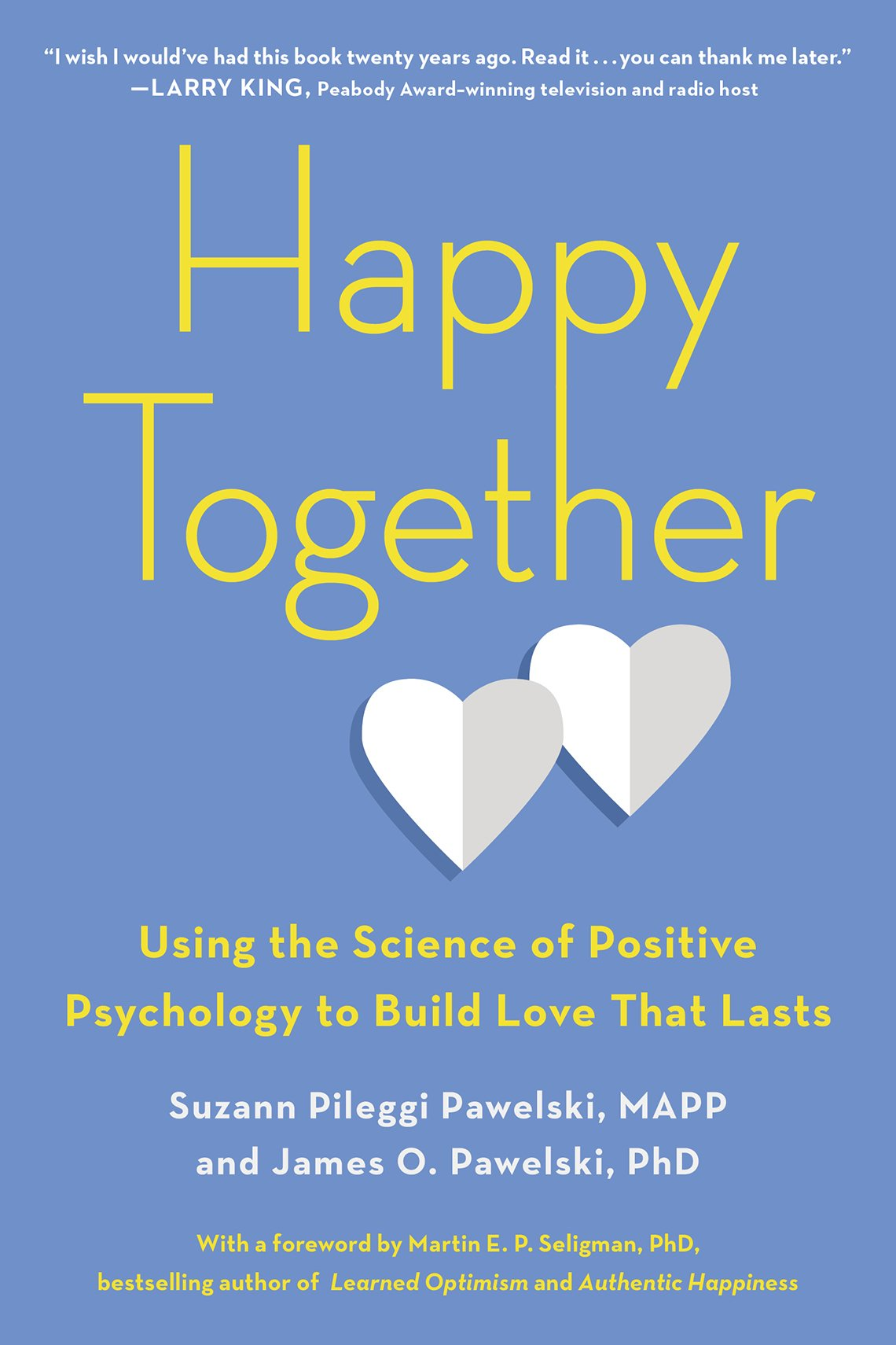 Happy Together by Suzaan Pileggi Pawelski. Blue book cover with two folded paper hearts
