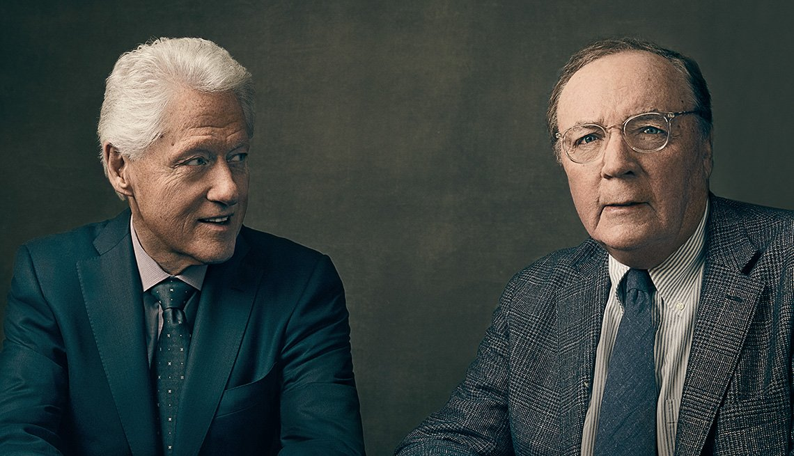 Bill Clinton and James Patterson photographed in front a background.