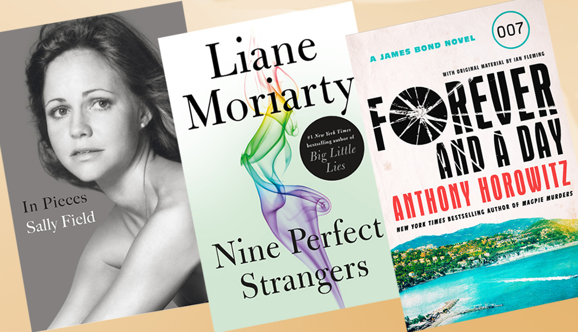 Book covers, In Pieces, Nine Perfect Strangers, Forever and a Day