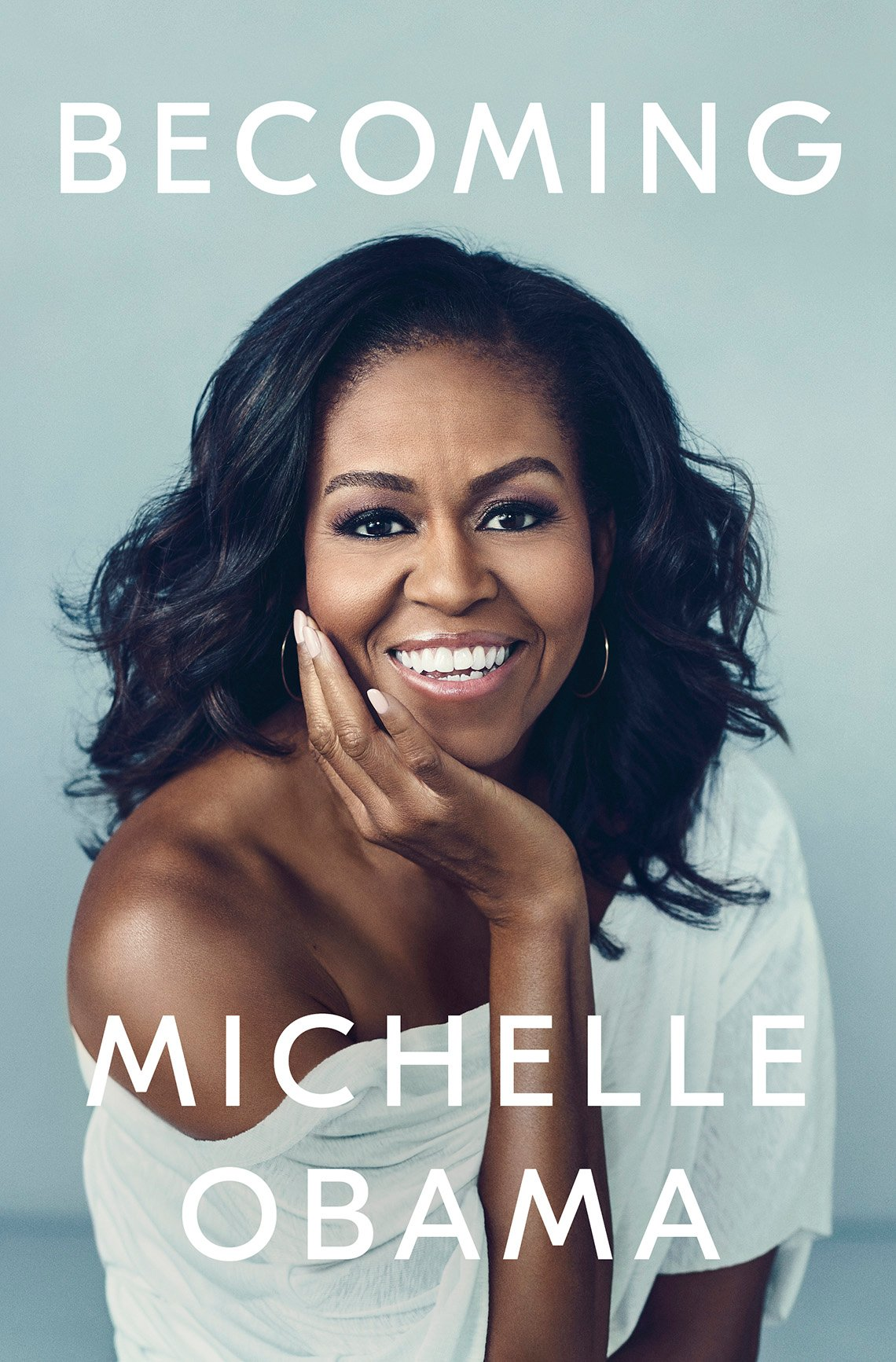 "Book cover reads ""Becoming, Michelle Obama"""