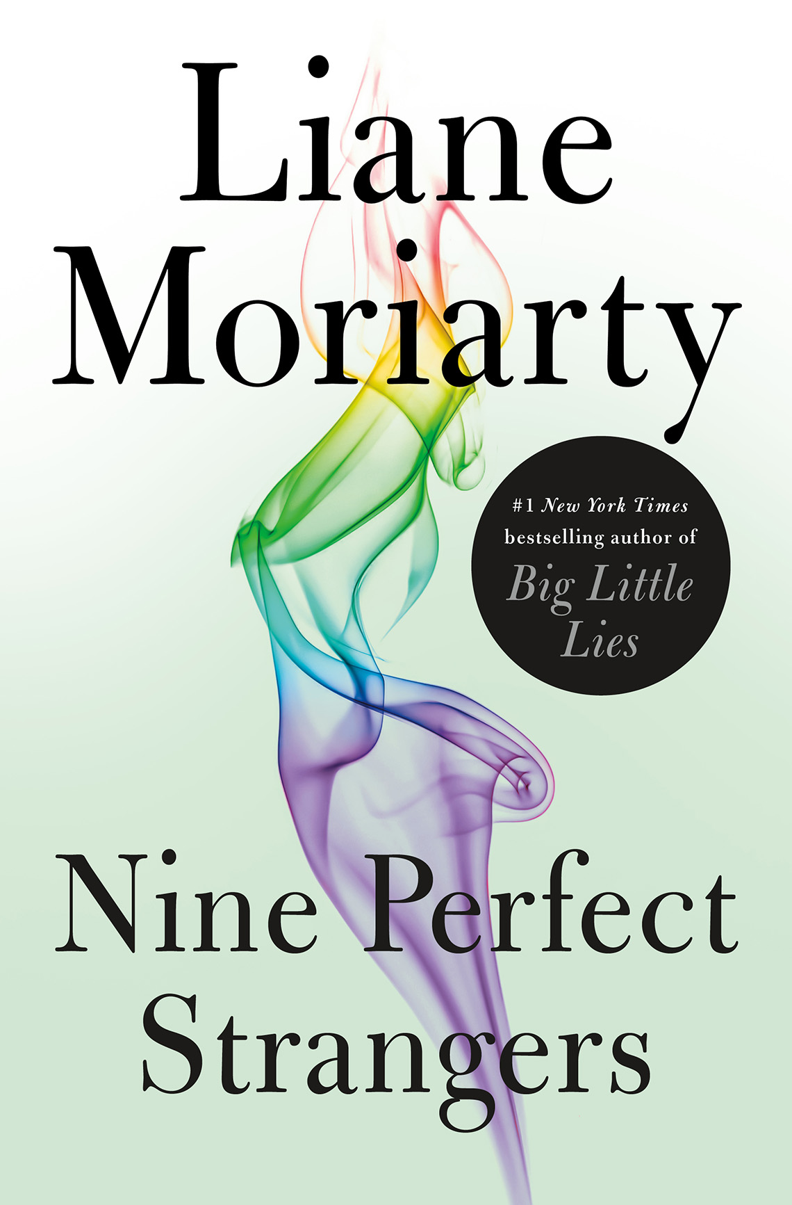 """Book cover reads """"Liane Moriarty, Nine Perfect Strangers"""""""