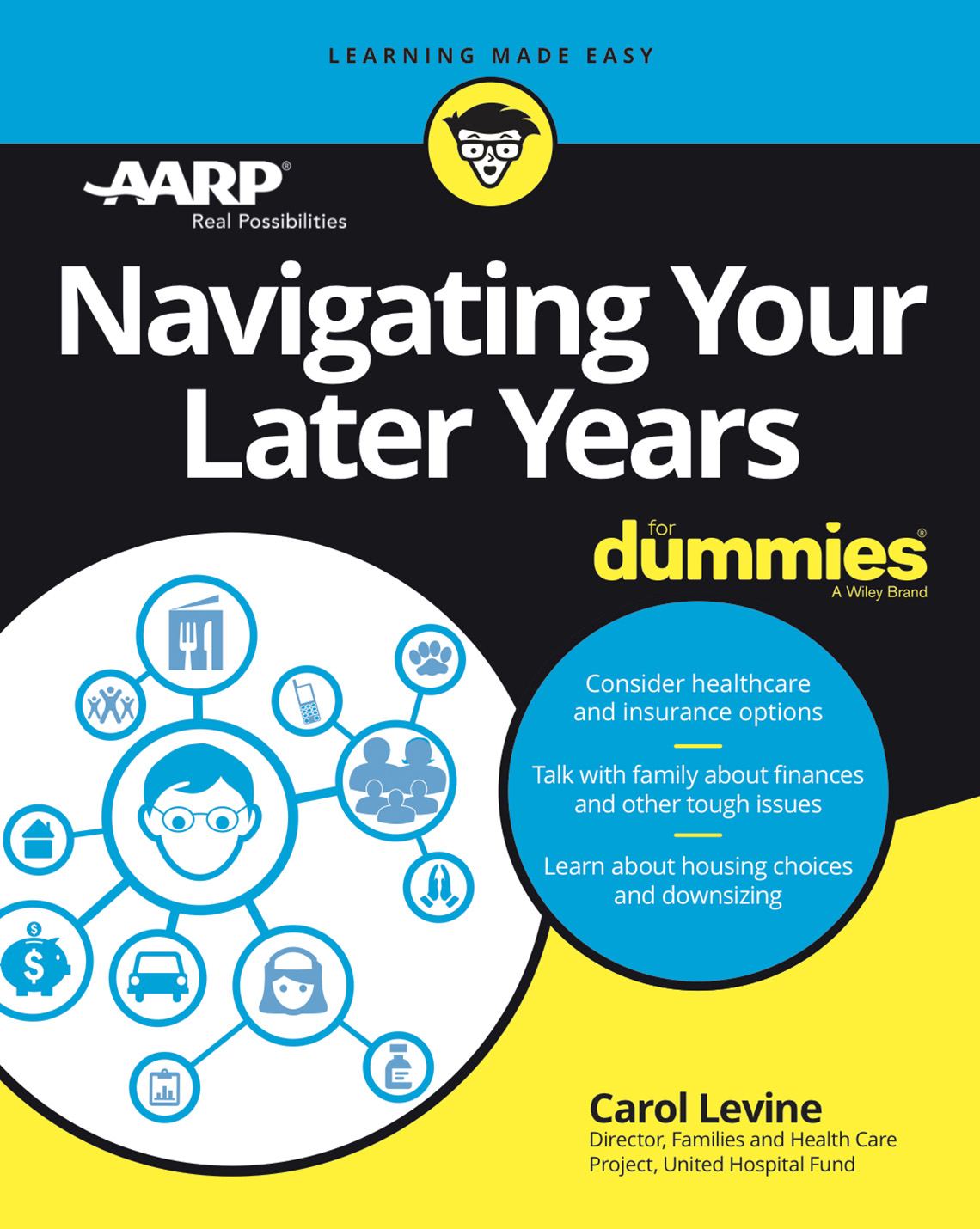 """Book cover reads """"Navigating Your Later Years dummies"""" by Carol Levine"""