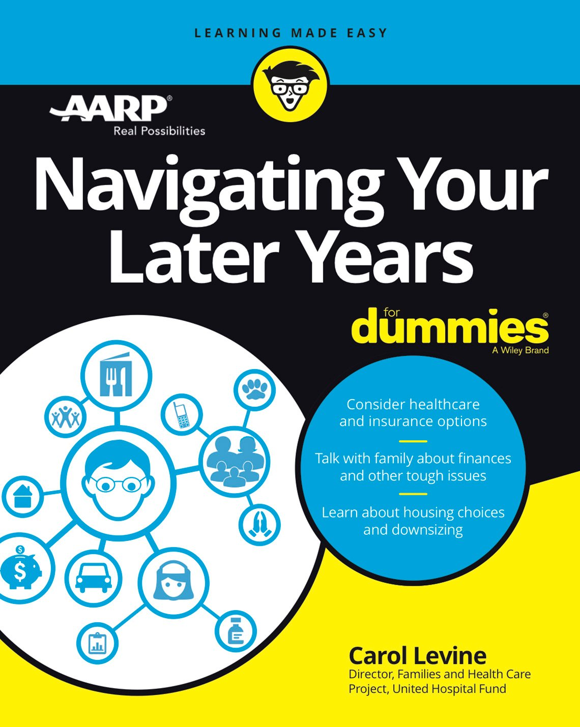 "Book cover reads ""Navigating Your Later Years dummies"" by Carol Levine"