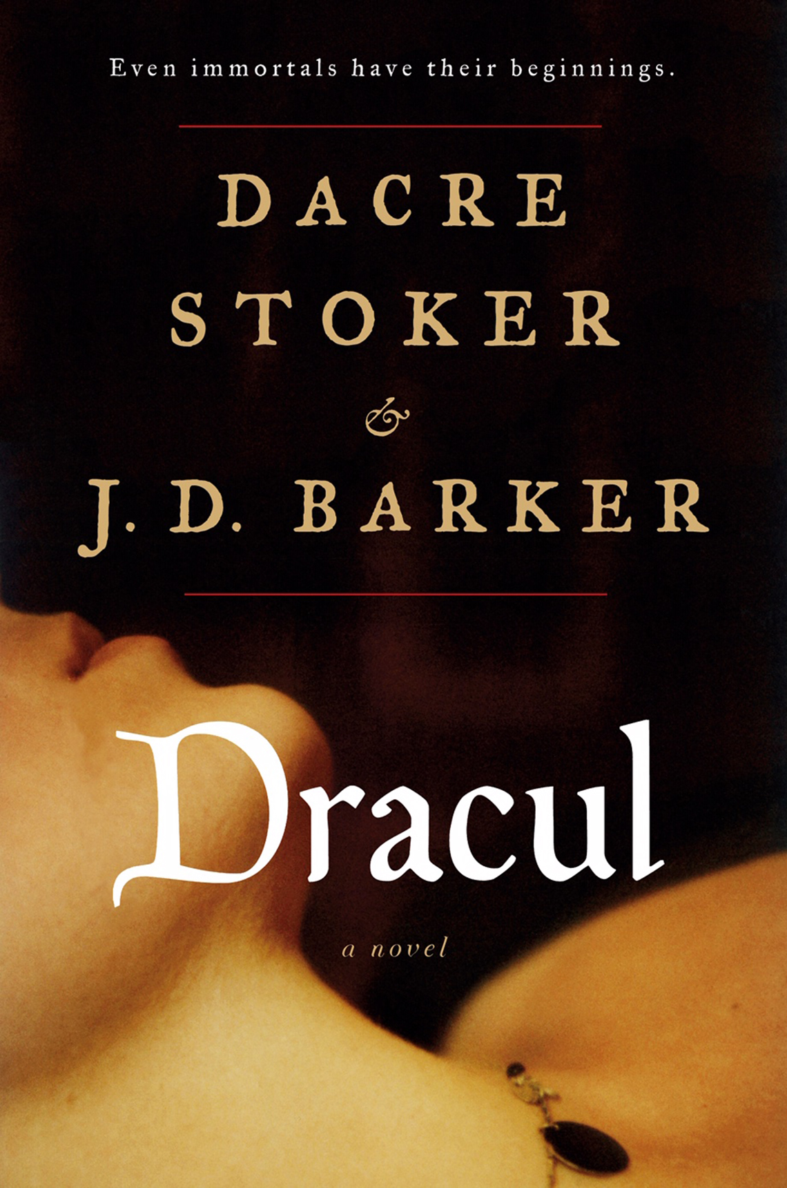 Book cover reads, Dacre Stoker and J.D. Barker,  Dracul a novel