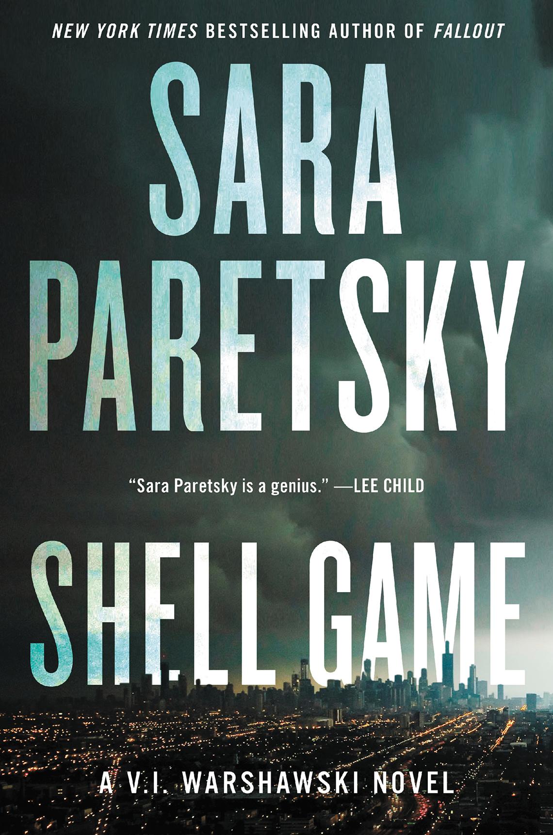 Book cover reads, Sarah Paretsky, The Shell Game