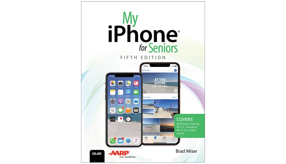 Book cover reads My iPhone for Seniors Fifth Edition