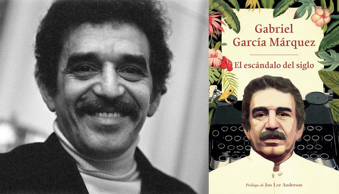 Gabriel García Márquez y portada del libro El escándalo del siglo