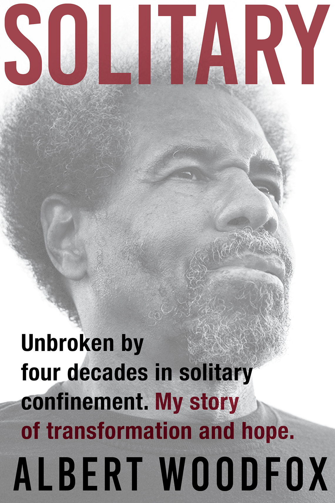 Book cover reads: Solitary Unbroken by Four Decades in Solitary Confinement. My story of transformation and hope, Albert Woodfox