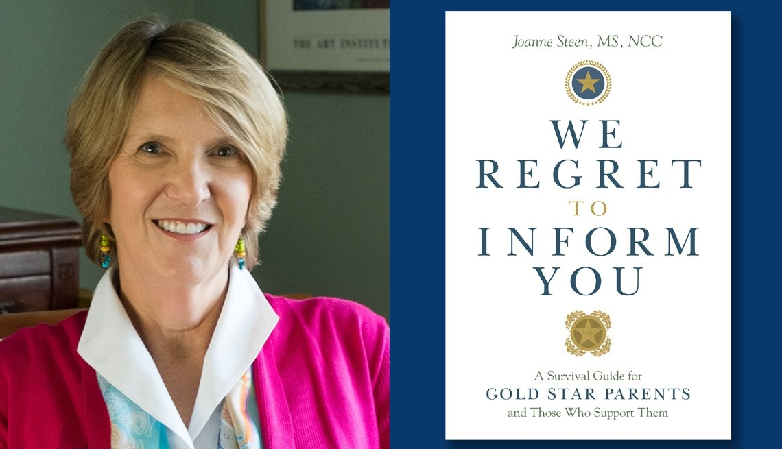 """photo of author Joanne Steen, MS, NCC, and book cover image of """"We Regret to Inform You"""""""