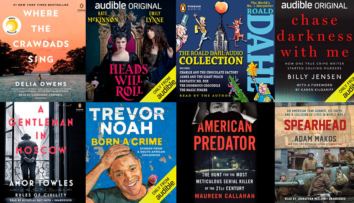 collage of audiobooks