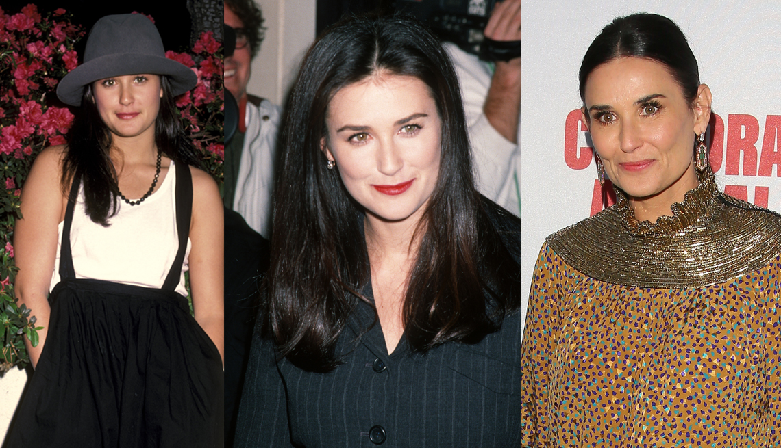 three photos of Demi Moore from the 1980s-present