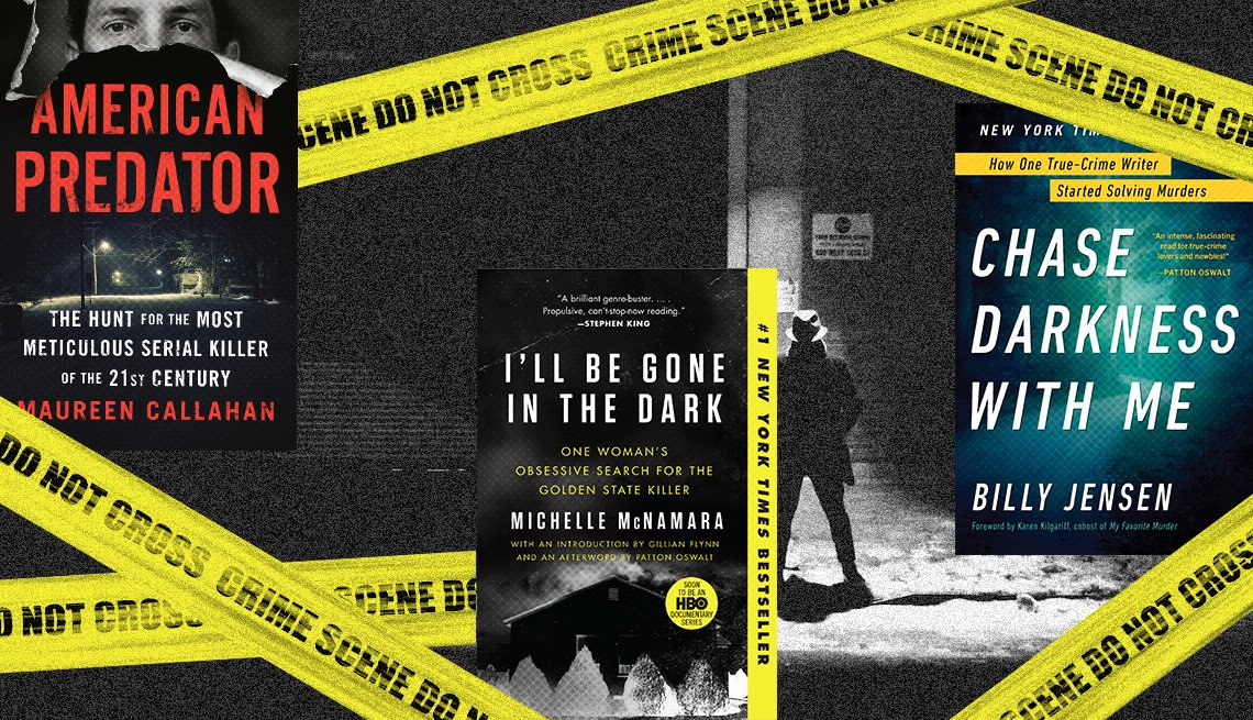 American Predator, I'll Be Gone in the Dark, Chase Darkness With Me book covers with graphic of Crime Scene Tape