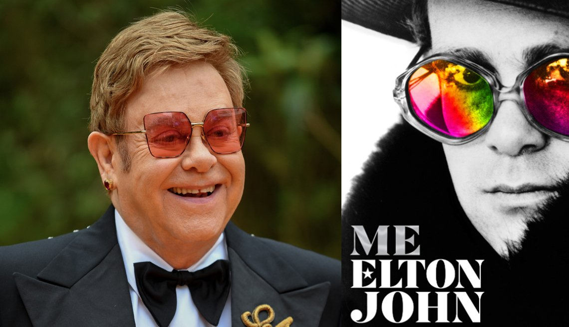 diptych of sir elton john and the cover of his new autobigraphy titled me