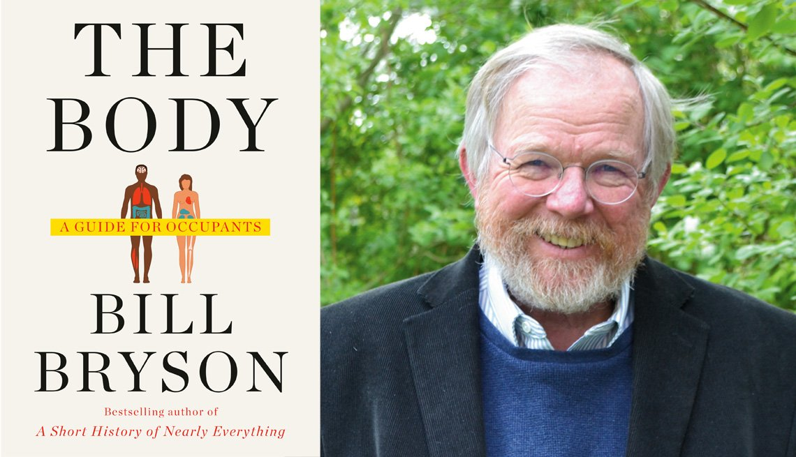 diptych of the cover of bill brysons new book called the body a guide for occupants and a portrait of bill standing outdoors smiling