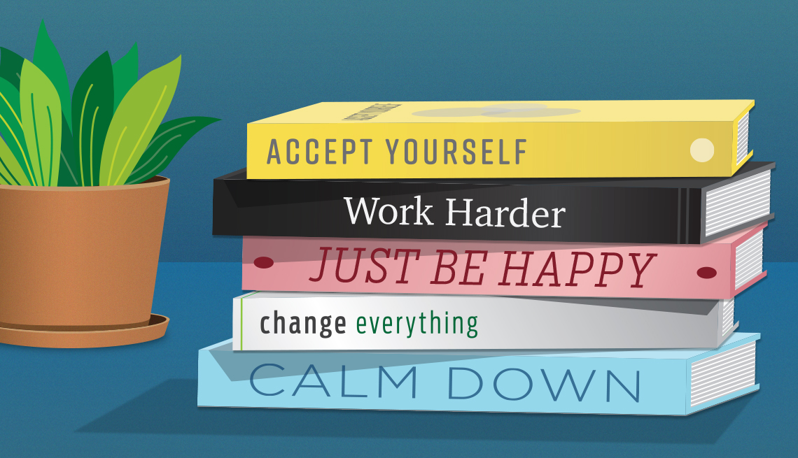 graphic of five books stacked on each other with inspirational phrases on the spine