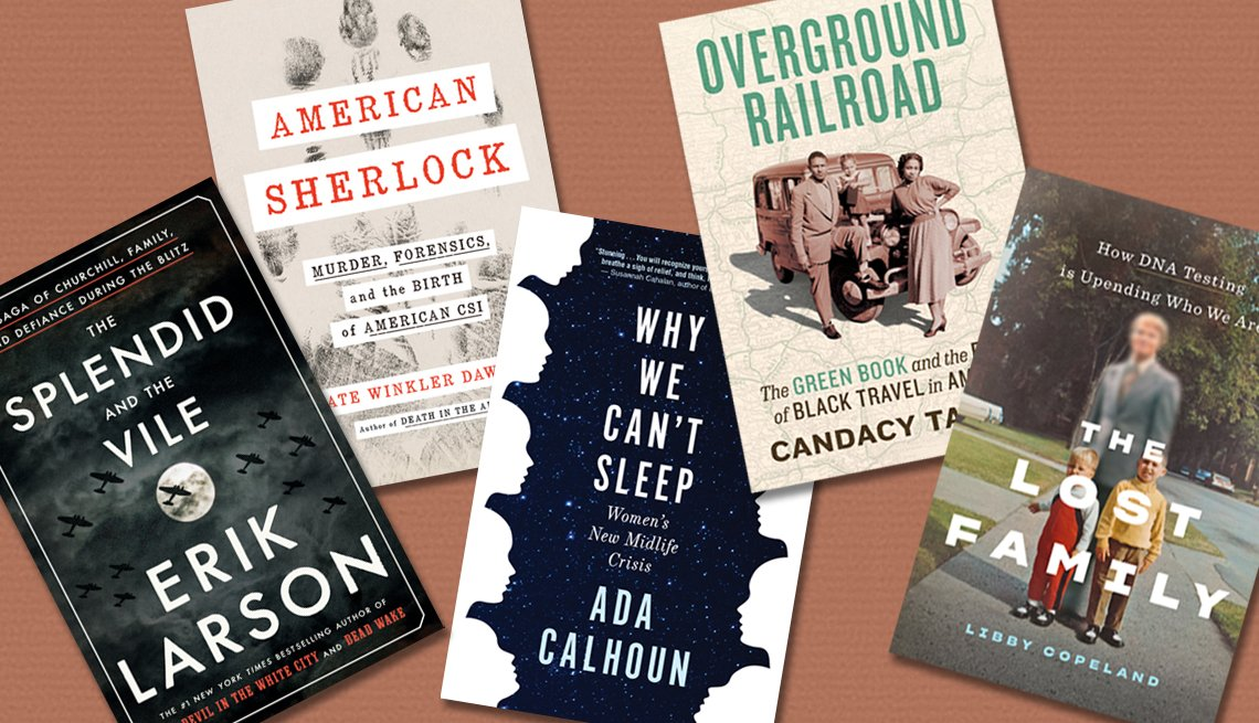 collage of The Splendid and the Vile, American Sherlock, Why We Can't Sleep, Overground Railroad and The Lost Family book covers