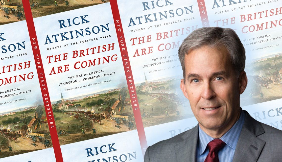 author rick atkinson in front of his new book cover for the british are coming
