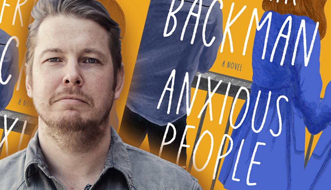 author frederik backman in front of an image of his latest book titled anxious people