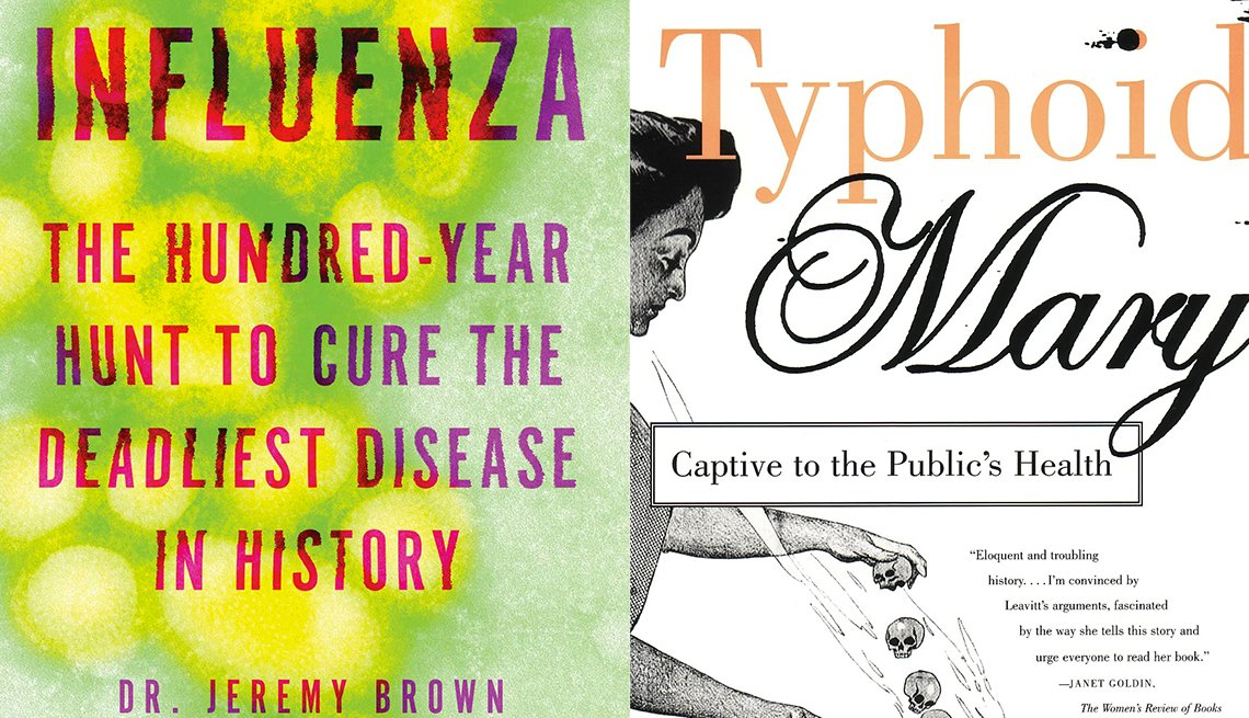 Influenza: The Hundred-Year Hunt to Cure the Deadliest Disease in History  and Typhoid Mary book covers