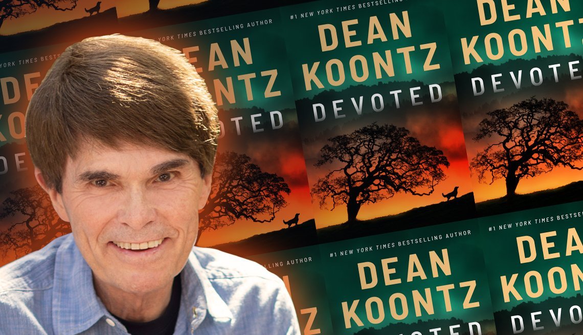 dean koontz and a cover graphic of his latest book titled devoted