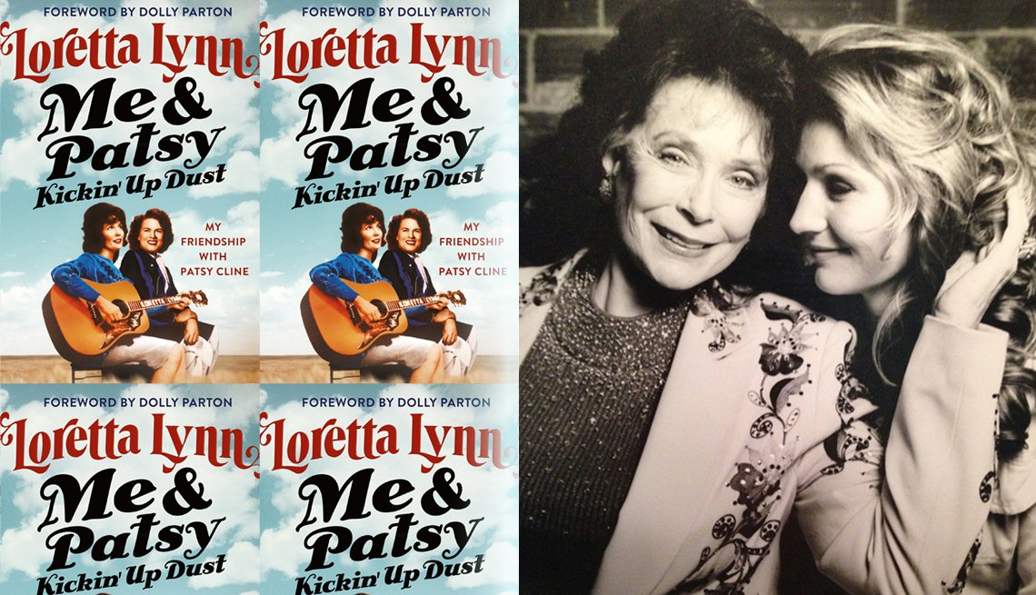 collage of loretta lynn and her daughter who cowrote lynns book titled me and patsy kickin up dust