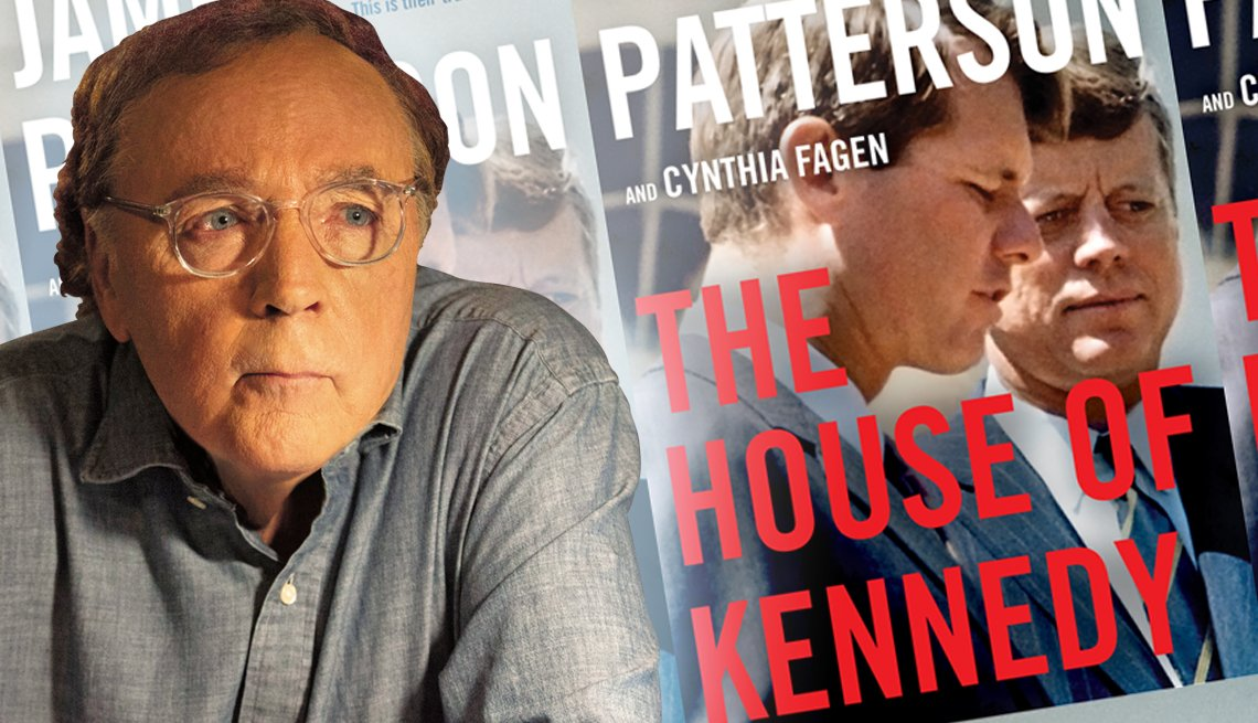 author james patterson in front of a graphic of his latest release titled the house of kennedy