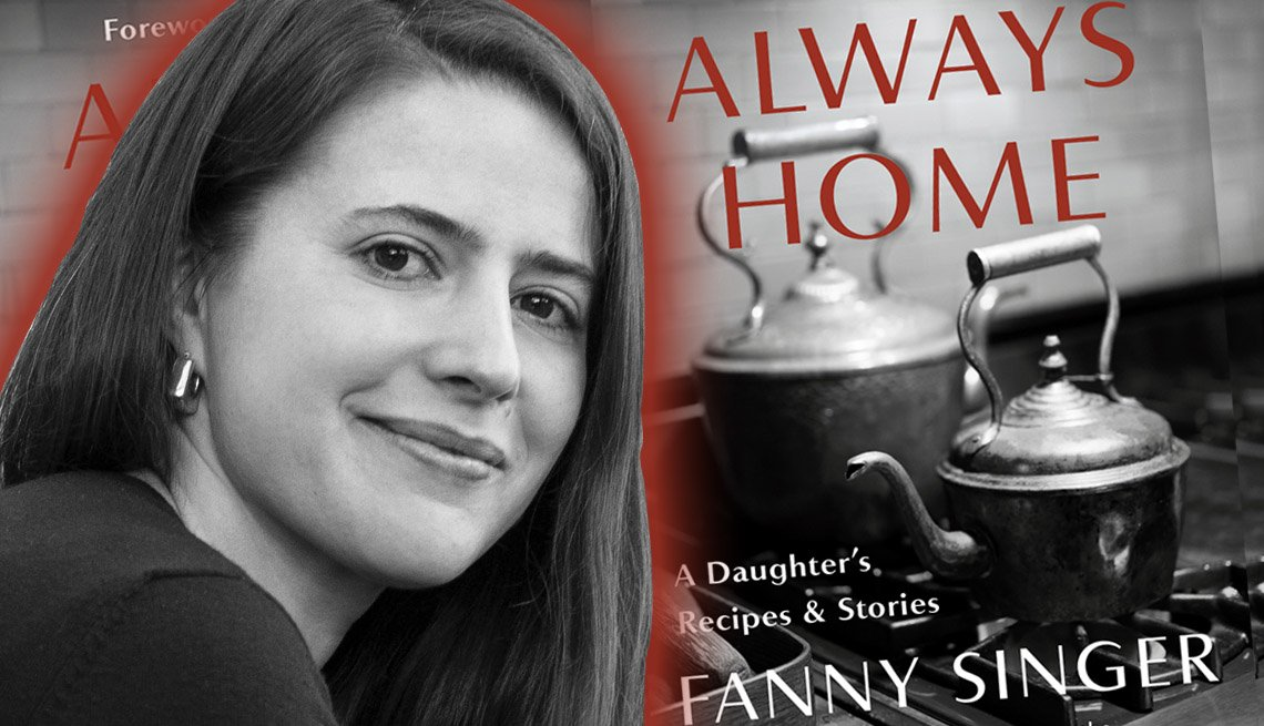 Author fanny singer in front of the cover of her latest book titled always home