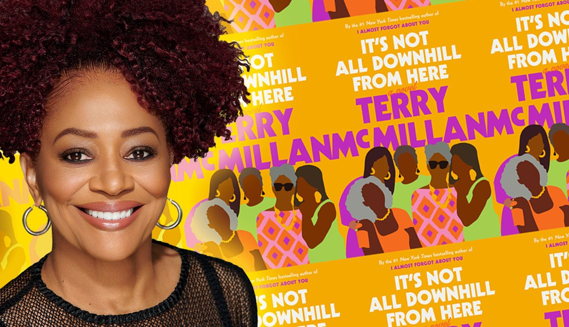 author terry mcmillan in front of a graphic of her latest book cover  it is not all downhill from here
