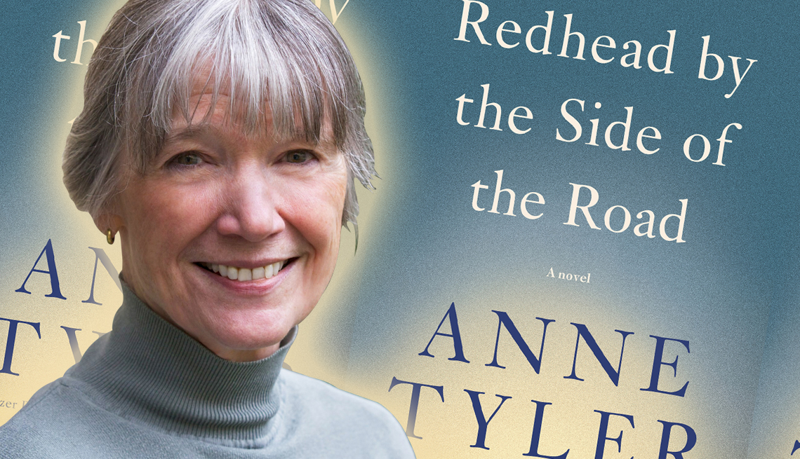 author anne tyler in front of the cover of her newest release titled redhead by the side of the road